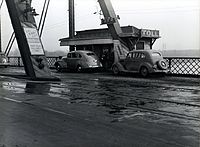 Ak-Sar-Ben Bridge toll booth in 1938.