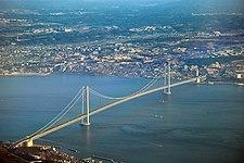 The Akashi-Kaikyo Bridge extends from Kobe to Awaji Island.