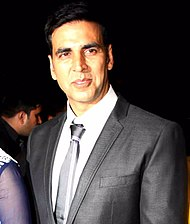 A photograph of Kumar attending the premiere of his film Entertainment in August 2014