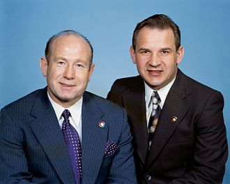 Apollo–Soyuz Test Project - Left to right: Leonov, Kubasov
