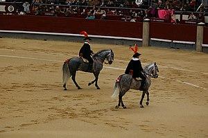 Alguacilillo - Two alguacilillos in plaza de las Ventas, Madrid