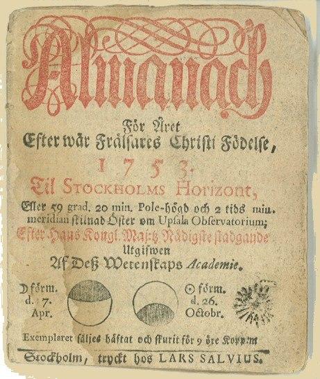 Almanacka 1753