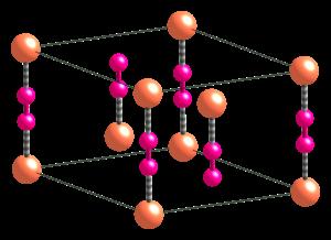 Copper(I) cyanide - Image: Alpha Cu CN unit cell CM 3D balls