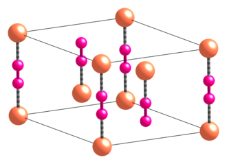Copper(I) cyanide - Image: Alpha Cu CN unit cell CM 3D balls