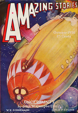 "John W. Campbell - The first installment of Campbell's serial ""Uncertainty"" took the cover of the October 1936 issue of Amazing Stories"