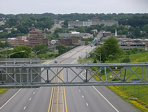 New York State Route 30 - NY 30 approaching Amsterdam with Market Street hill visible in the background