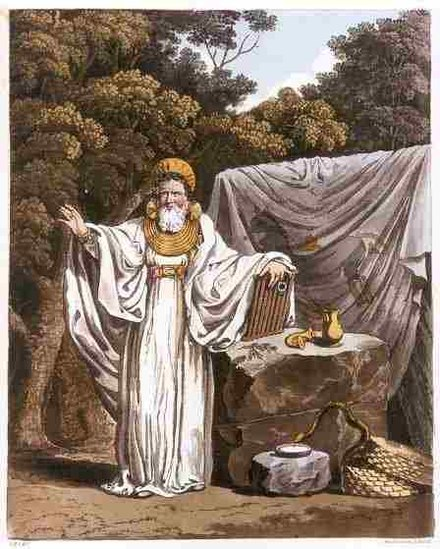 Imaginative illustration of 'An Arch Druid in His Judicial Habit', from The Costume of the Original Inhabitants of the British Islands by S.R. Meyrick and C.H. Smith (1815), the gold gorget collar copying Irish Bronze Age examples. An Arch Druid in His Judicial Habit.jpg