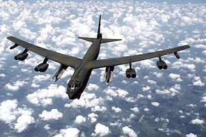 An air-to-air front view of a B-52G Stratofortress aircraft from the 416th Bombardment Wing armed with AGM-86B Air-Launched Cruise Missiles (ALCMs) DF-ST-88-04694.jpg