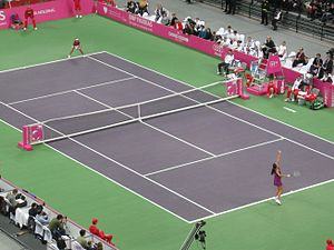 Serbia Fed Cup team - Ana Ivanovic of Serbia against Ai Sugiyama from Japan (Belgrade 7 February 2009)
