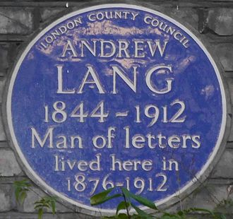 Andrew Lang - Blue plaque, 1 Marloes Road, Kensington, London