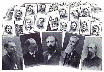 Illustration of nineteen men involved in the G...