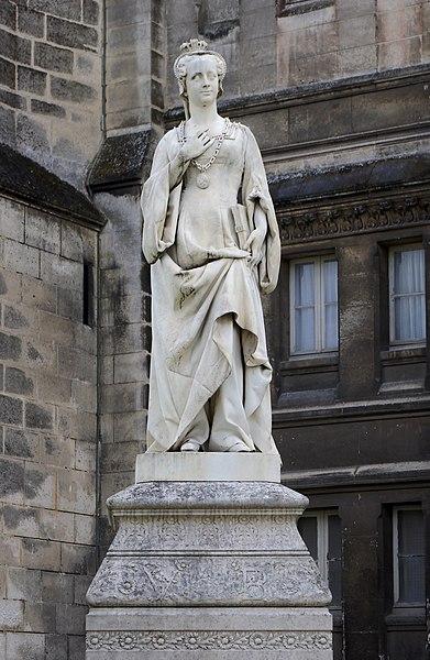 Marble statue of Marguerite d'Angoulême who wrote L'Heptaméron, by Jacques Joseph Emile Badiou de la Tronchère (XIXth century). City hall gardens, Angoulême, France