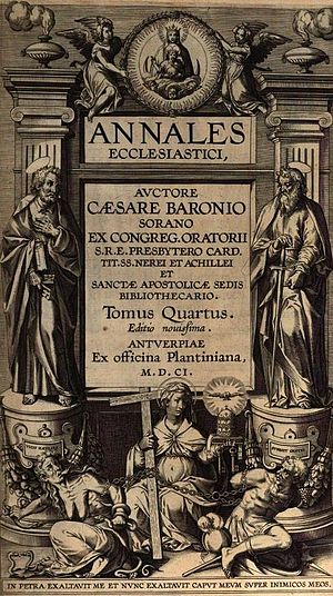 Annales Ecclesiastici - Annales Ecclesiastici, title page for vol. IV (1601) in the Antwerp edition.