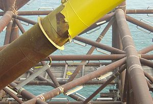 Galvanic corrosion - Aluminum anodes mounted on a steel-jacketed structure