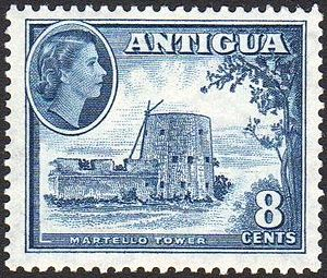 History of Antigua and Barbuda - Postage stamp with portrait of Queen Elizabeth II, 1953