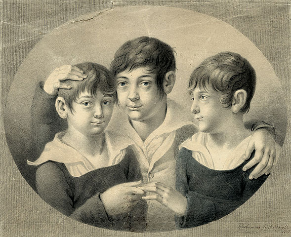 Friendship portrait of three boys. Black chalk, blue wash, heightened with white. 37 x 44.7 cm. Signed and dated lower right 'made by Berolino 1811'.