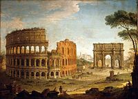 Antonio Joli - Rome - View of the Colosseum and The Arch of Constantine - WGA11961.jpg