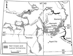 Anzu (dinosaur) - Map of locations yielding Anzu specimens (stars)