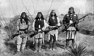 Apache chieff Geronimo (right) and his warriors in 1886