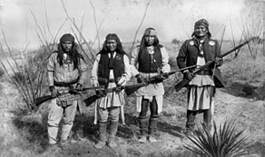 Geronimo - From right to left, Apache leader Geronimo, Yanozha (Geronimos's brother-in-law), Chappo (Geronimo's son by his second wife), and Fun (Yanozha's half brother) in 1886. Taken by C. S. Fly.