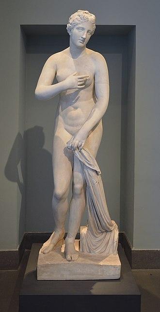 Aphrodite of Menophantos - Aphrodite of Menophantos a Venus Pudica signed by Menophantos, first century BCE, found at San Gregorio al Celio, Rome (Museo Nazionale Romano)