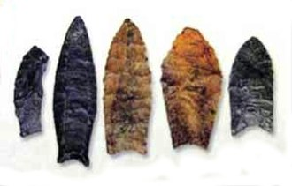 Solutrean hypothesis - Examples of Clovis and other Paleoindian point forms, markers of archaeological cultures in North America