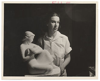Arnold S. Eagle - Helen Gaulois in her studio with sculpture, January 27, 1938