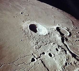 Aristarchus (crater) - Aristarchus (center) and Herodotus (right) from Apollo 15. NASA photo.