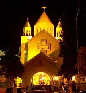 Church of the Holy Mother of God (Aleppo) - The church at night