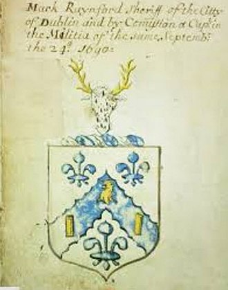 Mark Rainsford - Image: Arms entry of Sir Mark Rainsford, Sheriff of City of Dublin, Sept. 24, 1690