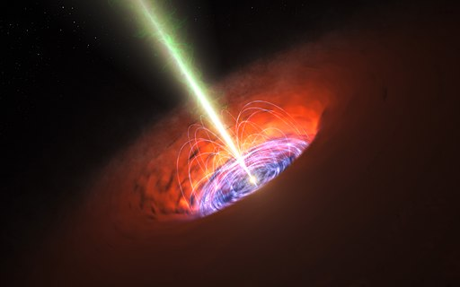 Artist impression of a supermassive black hole at the centre of a galaxy