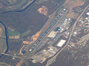 Interstate 26 in North Carolina - Aerial view of Asheville Regional Airport with I-26 is on the right