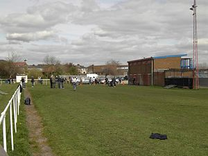 Askern F.C. - Image: Askern Villa fc cricket pitch end