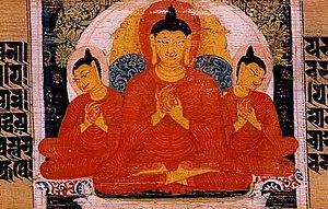 """Ṛddhi - """"Miracle at Śrāvastī."""" From a Prajñāpāramitā palm leaf manuscript. Nalanda, Bihar, India"""