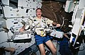 Astronaut Jeffrey Hoffman displays tools for use on HST (28049533281).jpg