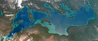 Desertec - An artist's conception of what Atlantropa may look like, as seen from space