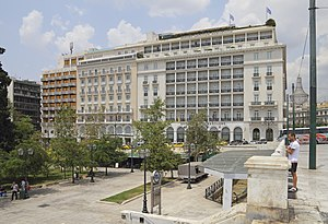 Syntagma Square - View of the hotels to the north side of the Square, along King George I Street