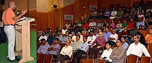 Institute of Chartered Financial Analysts of India - Atul Singh addressing a gathering at ICFAI