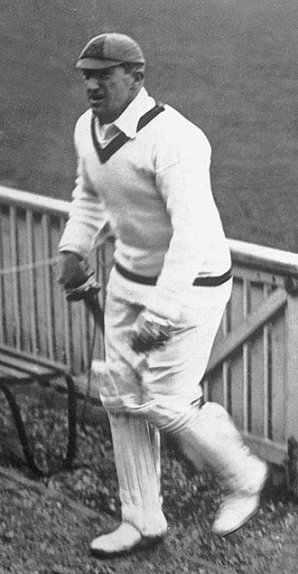 Aubrey Faulkner, regarded as the first great South African all-rounder in international cricket. In a legendary 25-match Test career spanning from 1906 to 1924, he scored 1754 runs at 40.79 and claimed 82 wickets at 26.58 Aubrey Faulkner c1920.jpg
