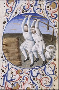262e56603ec August - two men threshing - Book of hours Simon de Varie - KB 74 G37a