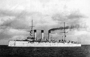 Dogger Bank incident - The Aurora, a Russian cruiser attacked by other Russian ships during the incident.