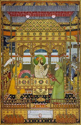 Azim ush-Shan on the imperial throne receives the investiture of Khizr ca. 1712 Bibliothèque nationale de France, Paris.jpg