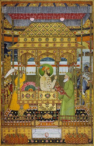 Azim-ush-Shan - Azim ush-Shan on the imperial throne receives the investiture of Khizr
