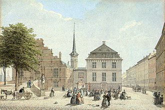 Danmarks Nationalbank - The National Bank's first home next to Børsen on Slotsholmen, c. 1850