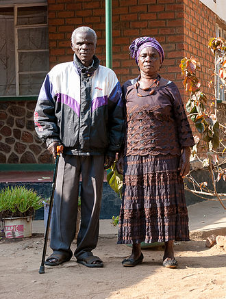 "Chikulamayembe Dynasty - The Paramount Chief of the Tumbuka Walter Gondwe the ""Chikulamayembe"" from 1977 to 2018 with his wife in Bolero, Rumphi, Malawi"