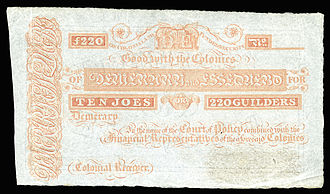 British Guianan guilder - Demerary and Essequebo, 10 Joes (220 Guilders)(1830s)