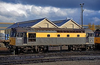 British Rail Class 33 - 33 208 in BR civil engineers livery at Eastleigh, 1995