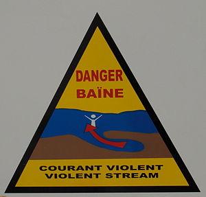 Baïne - Baïnes: Warning sign at Mimizan