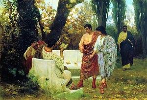 Pallium (Roman cloak) - Catullus reading poems to his friends. (Stefan Bakałowicz, 1885)