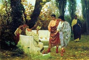 Il poeta Catullo legge uno dei suoi scritti agli amici, da un dipinto di Stefano Bakalovich.